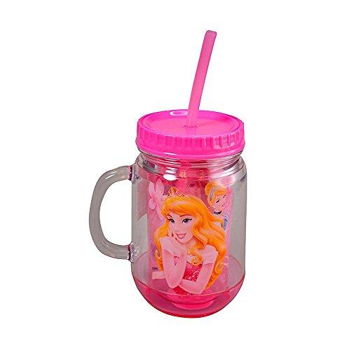 Disney Princess 14oz Double Wall Insulation Jar Tumbler with Lid & Straw, BPA-Free