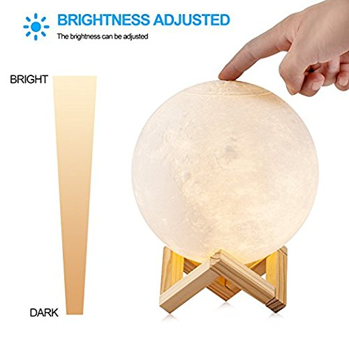 Moon Lamp, HOLA 3D Printed Moon Light Night Light, Glowing Moon Globe Light LED Table Lamp, Dimmable Brightness Two Tone Touch Control USB Rechargeable Lunar Light for Creative Gift, Bedroom, 5.9 Inch by HOLA (Image #2)