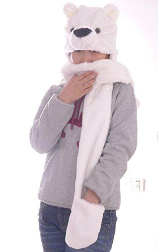 Polar Bear_(US Seller)Hat Scarf Mittens Animal Cap Costume Long Paws