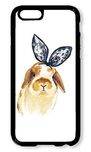 iPhone 6 Case AOFFLY Bunny With Bowtie Black PC Hard Case For Apple iPhone 6 4.7Inch