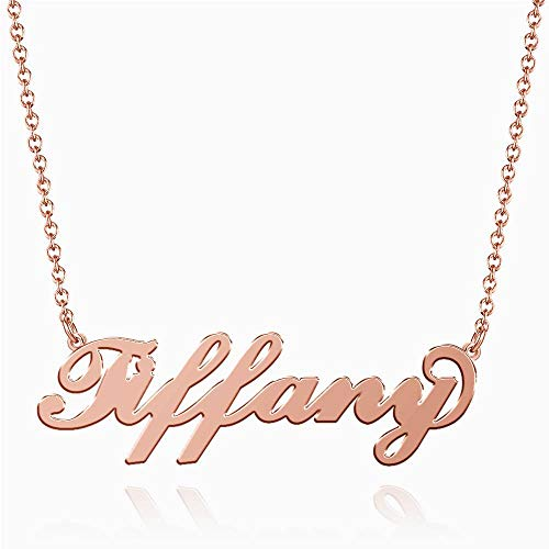 SOUFEEL Tiffany Name Necklaces Pendant Stainless Steel Rose Gold Personalized Nameplate for Women Girls ()