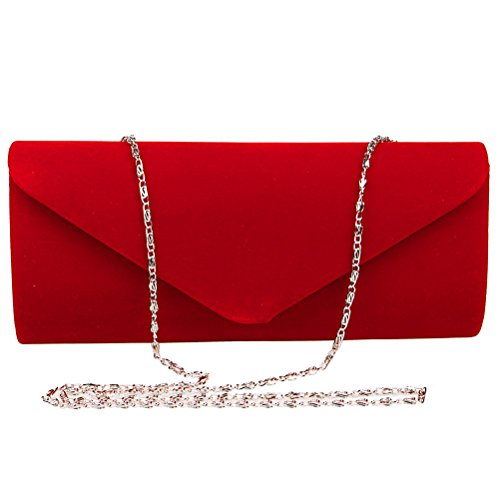 Clutch Evening Velvet For Wedding Envelope Party FASHIONROAD Clutch Womens Red Purse 1ZFwAqPx
