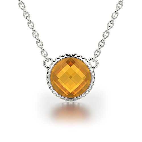 Sterling Silver Necklace with Round Shape Citrine Gemstone on Cable Chain ()