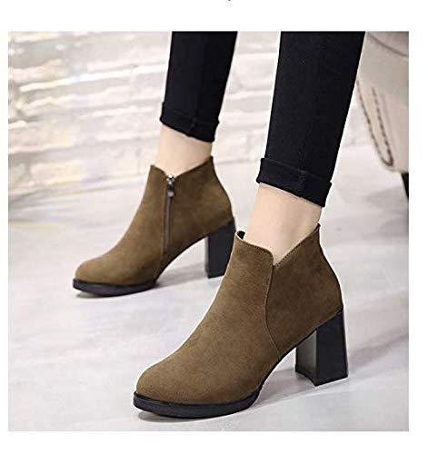 High Heels Heels High Stiefel Stiefeletten Damenstiefel runder Kopf Wildleder High Heel dick mit kurzem seitlichem Reißverschluss (Farbe   Khaki, Größe   38) df77a2