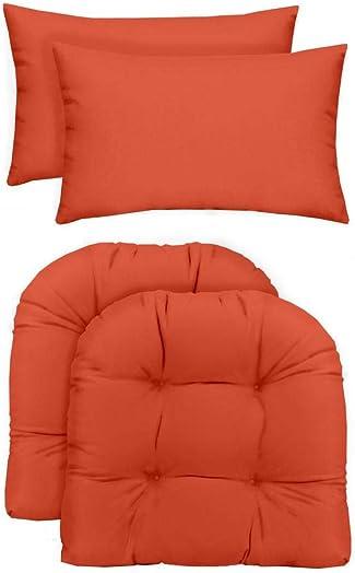RSH D cor Indoor Outdoor 2 U-Shape Wicker Chair Cushions Lumbar Pillows 2 19″ x 19″ Cushions 2 20″ x 12″ Pillows