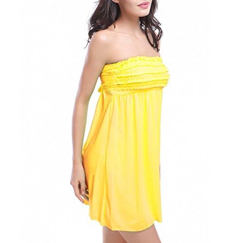 SiDiOU Group Petal Beach Vestidos para las mujeres Envuelto pecho Falda Seaside falda Holiday Dress Amarillo