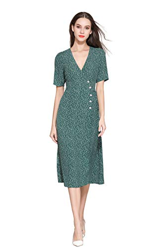 Little Smily Women's 1940s Vintage Small Floral Print Button Front Midi Wrap Dress Short Sleeve (12, Teal Print)