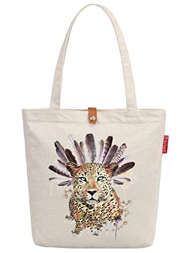 So'each Women's Leopard Feather Art Graphic Top Handle Canvas Tote Shoulder Bag