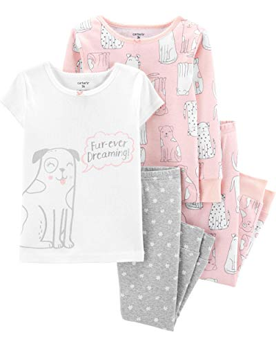 Carter's Toddler and Baby Girls' 4 Piece Cotton Pajama Set, Dogs, 5T