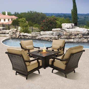 Villa 5 Piece Fire Chat Set With Sunbrella Fabric Cushions Furniture Decor