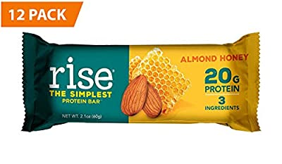 Rise Bar Non-GMO, Gluten Free, Soy Free, Real Whole Food, Whey Protein Bar (20g), No Added Sugar