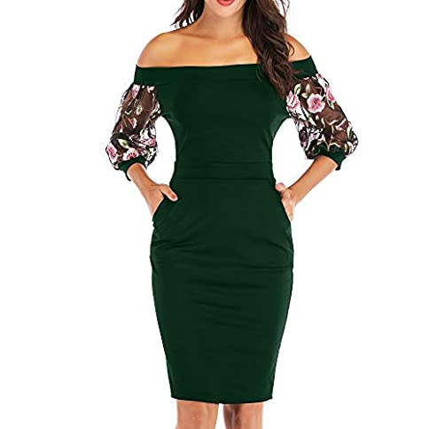 Zshujun Girl Women's Retro Bodycon Slash Neck Formal Office Work Casual Party Pencil Dress A2397 - 41F305ywFqL - Zshujun Girl Women's Retro Bodycon Slash Neck Formal Office Work Casual Party Pencil Dress A2397