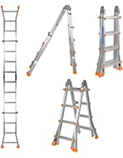 LIVINGbasics 13Ft 4X4 Steps Aluminum Folding Scaffold Ladder For Window Cleaning, Roof Repair. Made With Stable A Frame Construction. MAX Weight 330 LBS