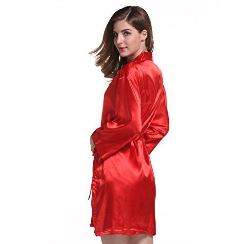 manga larga de seda Stretch pijamas túnica de seda material sólido Red