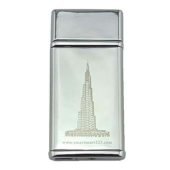 USB-charging Cigarette Lighter, regargeable and flameless - Silver Burj Khalifa