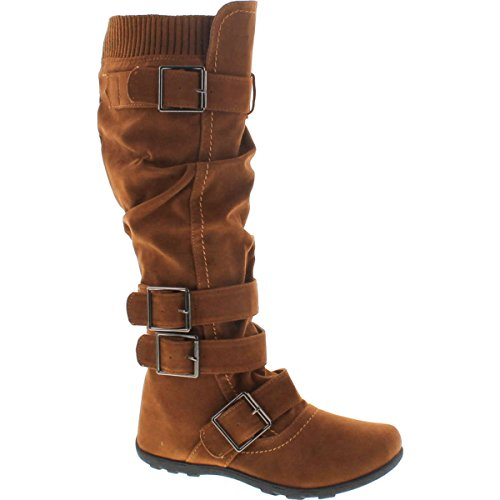 Womens Knee High Boots Ruched Leather Buckles Knitted (Ruched Leather Boot)
