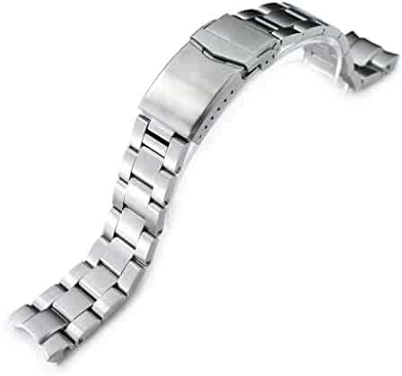 20mm Super 3D Oyster Watch Band for Seiko Alpinist SARB017, Brushed, V-Clasp