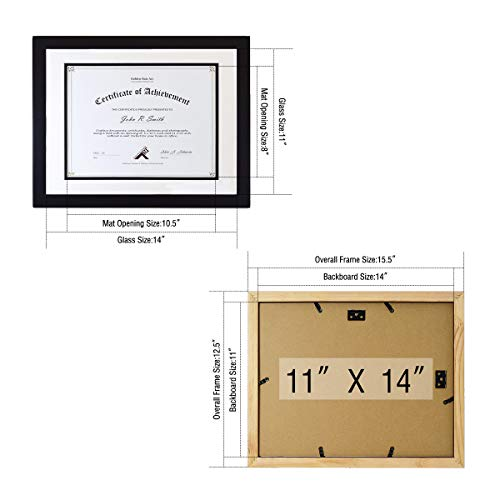 Golden State Art, Black Color, 11x14 Document/Photo Wood Frame, with White Over Black Double Mat for 8.5x11 Document & Certificates, Real Glass by Golden State Art (Image #2)