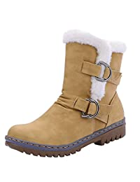 Women's Ladies Classic Buckle Strap Martin Snow Boots Faux Fur Warm Shoes Mid Heels Slip-on Short Booties