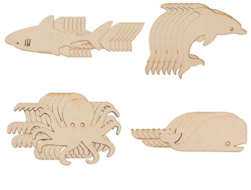 Whale Craft - Wood Cutouts - 24-Pack Unfinished Wooden