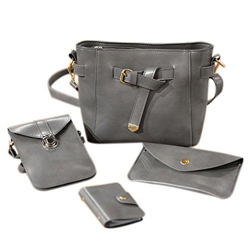 Espeedy Moda mujeres bolso de hombro PU cuero simple retro bolso monedero bolsa de teléfono de tarjetas 4 PCS conjunto gris