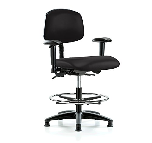 Task Multi Swivel (PERCH Multi Task Swivel Chair with Foot Ring and Stationary Caps, Workbench Height, Black Vinyl)