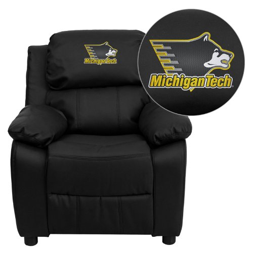 Flash Furniture Michigan Technological University Huskies Embroidered Black Leather Kids Recliner with Storage Arms