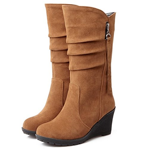 COOLCEPT Women Fashion Wedge Heel Pull On Mid Calf Boots Brown 9SViPe