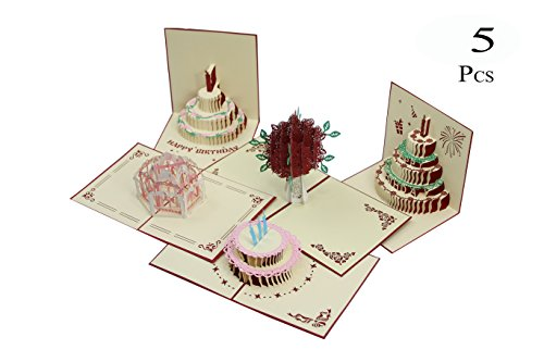 3D Birthday Cards Pop Up Greeting Holiday Cards Gifts Handmade 5 Pack Cards & Envelopes