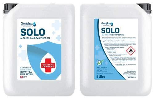 Solo – Alcohol Hand Sanitiser Gel 2 x 5 Litre Refill | 70% Alcohol Hand Sanitizer Gel – 10L Litres – Certified EN1276…