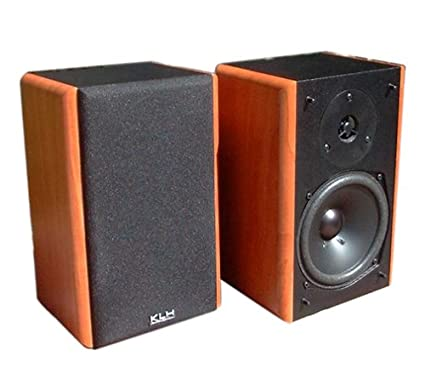 KLH 514S AW 100 Watt Bookshelf Speakers Black With Applewood Side Panels