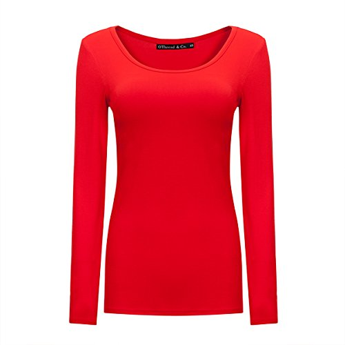 (OThread & Co. Women's Long Sleeve T-Shirt Scoop Neck Basic Layer Spandex Shirts (XX-Large, Red))