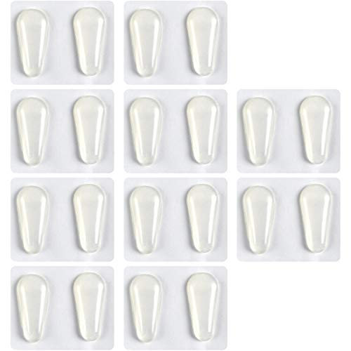 TOODOO 10 Pairs Nose Pads Adhesive Non-Slip Eyeglass Pads Silicone Glass Pads for Eyeglass Spectacles, Drop Shape (0.07 inch, Transparent)