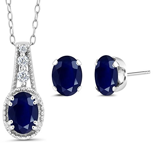 2.20 Ct Oval Blue Sapphire 14K White Gold Pendant Earrings Set (Oval Sapphire Pendant Set)