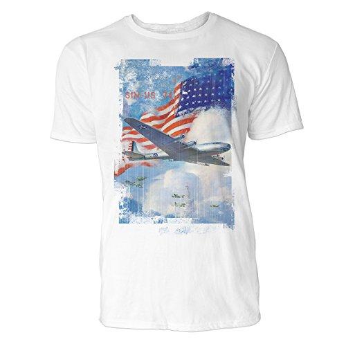 SINUS ART® American Air Force Herren T-Shirts stilvolles weißes Fun Shirt mit tollen Aufdruck