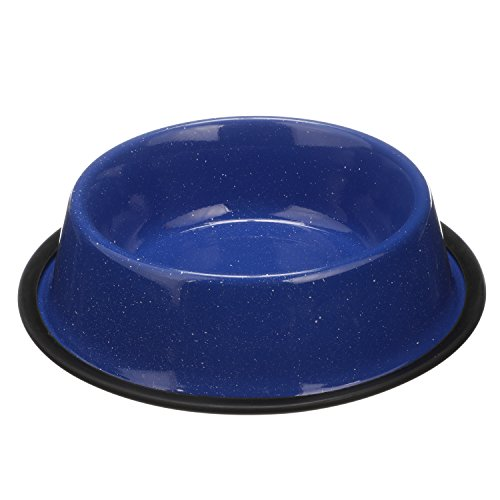 NEATER PET BRANDS - Outdoor Camping Style Pet Bowl - Enamel Ware Blue Black Granite Colors - Dog Cat No Tip Skid Bowls (32 oz, ()