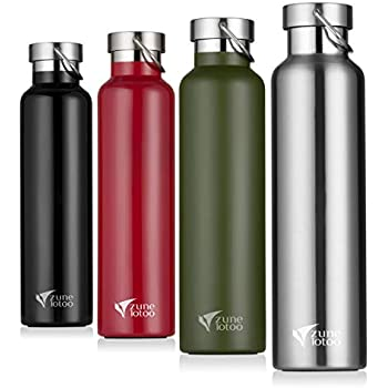 Zune Lotoo Stainless Steel Metal Water Bottle 26 ounce- Double Wall Wide Mouth Vacuum Insulated with Leak Proof Cap for Camping,Hiking,Sports (Silver)