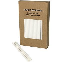 White Paper Straws Plain Solid White Straws 100PCS(white, 100)