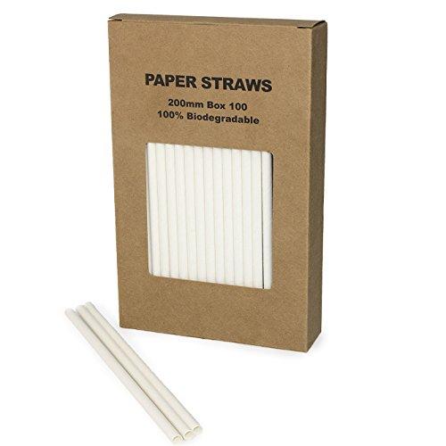 White Paper Straws Plain Solid White Straws 100PCS(white, 100) -