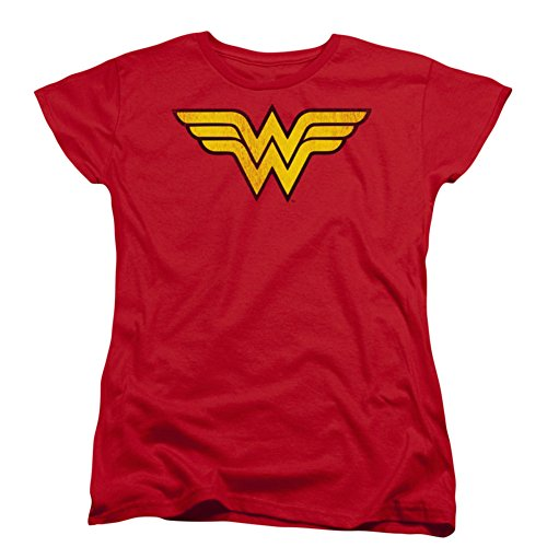 Ptshirt.com-19304-DC Comics Wonder Woman Logo Dist Womens Short Sleeve Shirt-B00FOV3XEA-T Shirt Design