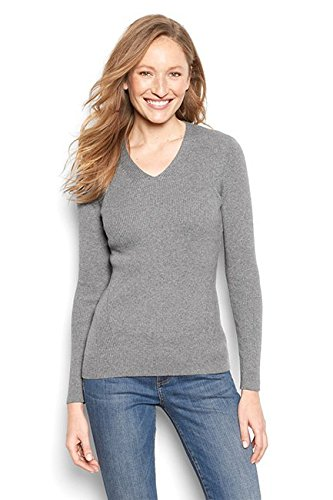 Orvis Women's Ribbed V-Neck Sweater, Light Gray, X Large