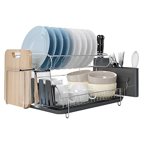 304 Stainless Steel Dish Rack, 2 Tier Dish Drying Rack with Utensil Holder, Cutting Board Holder and Dish Drainer - Large Capacity (Two Tier Dish)