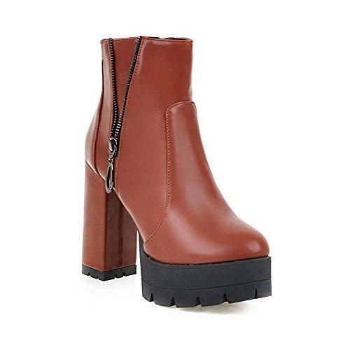 Boots Toe Brown High Pu Heels AgooLar Women's Solid Closed Zipper Round 1BnnAwzqS