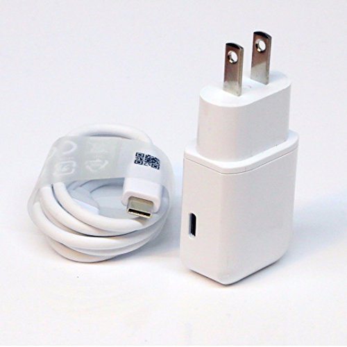 OEM Professional BLU Dash Music JR SmartPhone Quick Charge 3.0 Adaptive Fast Wall Charger with 2 Cables for USBC and MicroUSB. [White/1M Cables]