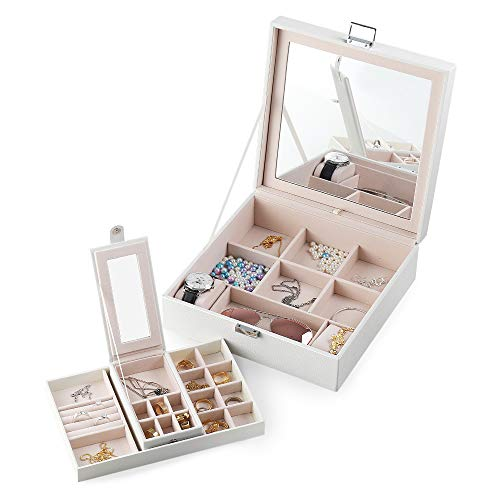 Frebeauty Jewelry Box with Portable Travel Jewelry Case 2 Layer Jewelry Display Organizer with Large Movable Mirror Versatile Storage Case for Jewelry Rings Watches Sunglasses (White)
