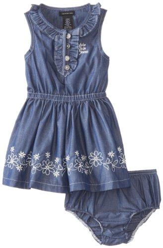 Calvin Klein Baby-Girls Infant Chambray Dress Sleeveless, Blue, 18 Months