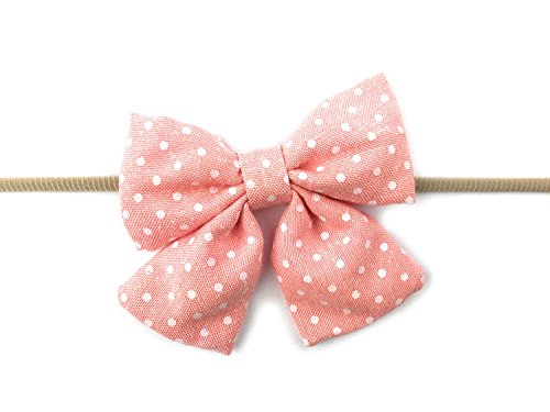 Peaches Elastic - Baby Wisp Infant Headbands Soft Fabric Oversized Patterned Sailor Bows Skinny Nylon Elastic (Peach Polka Dot)