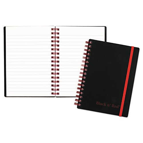 Black n' Red F67010 Twin Wire Poly Cover Notebook, Legal Ruled, 5 7/8 x 4 1/8, White, 70 Sheets Small Black And White