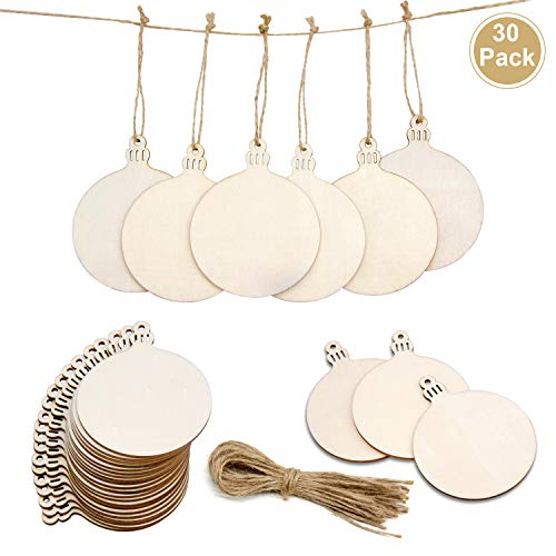 30PCS Wooden Ornaments Unfinished,Natural Wood Slices with Holes for DIY Arts and Crafts/Christmas Ornaments/Coasters…