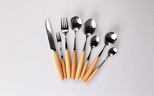 Amazon.com | JEWH [1pcs] Wood Handles Stainless Steel - Coffee Ice Cream Dessert Fork - Stirring Coffee Scoops Tableware - Fork Spoon Knife - Triangle Soup ...